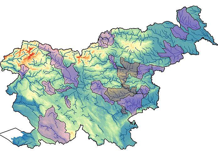 Karta Slovenije z označenima 19. in 20. območjem
